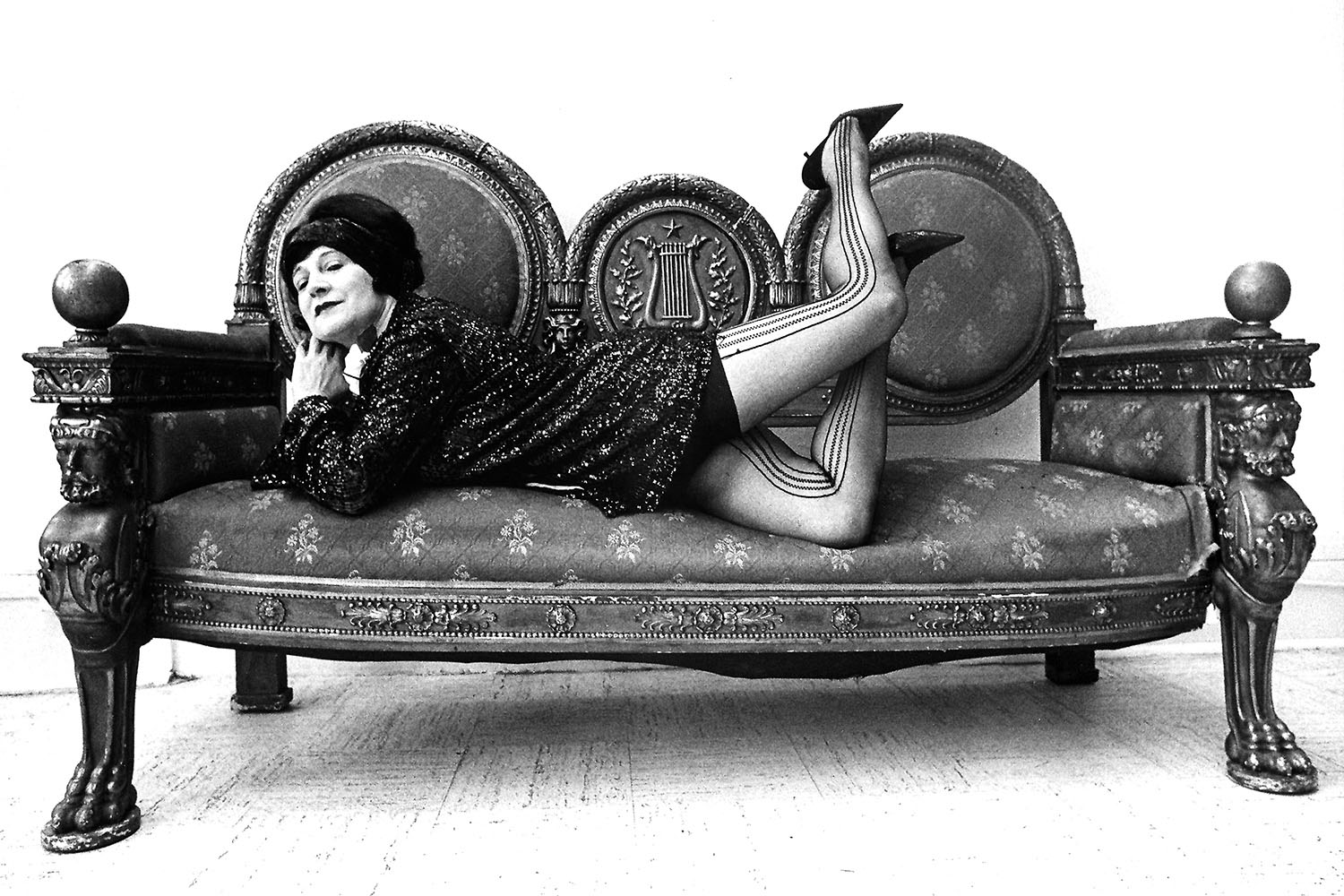 Eitta Sherman on couch